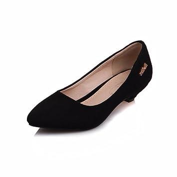 Der Big Size Damen Schuhe, Metallteile, flache Schuhe, heel pumps Damen Schuhe, schwarz, 39