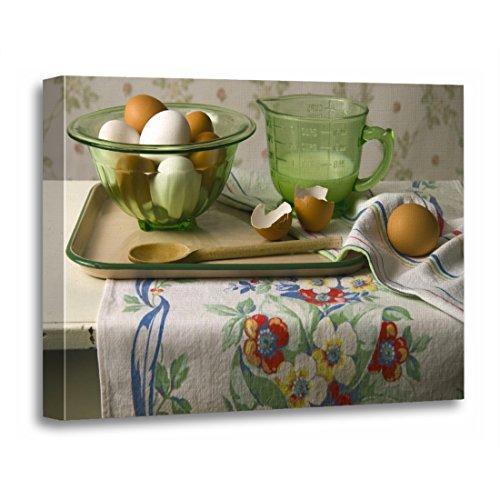 TORASS Canvas Wall Art Print Green Depression 4073 Eggs Milk Still Glass Artwork for Home Decor 24