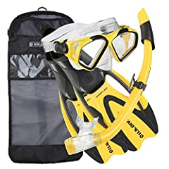 2-Window standard material mask with splash top snorkel and full foot pocket fin, packaged in travel ready mesh bag.