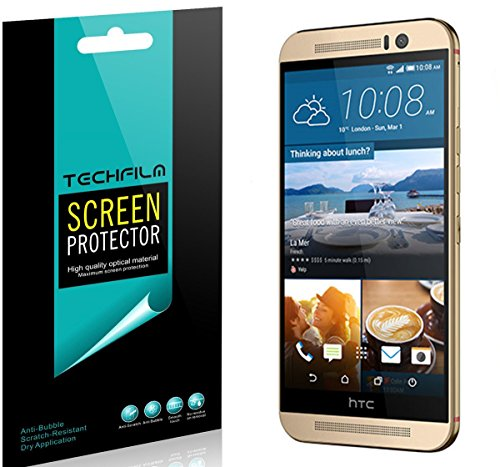 [6-Pack] TechFilm- HTC One M9 Screen Protector Anti-Bubble Ultra Clear HD Film - Lifetime Replacements Warranty- Retail Packaging