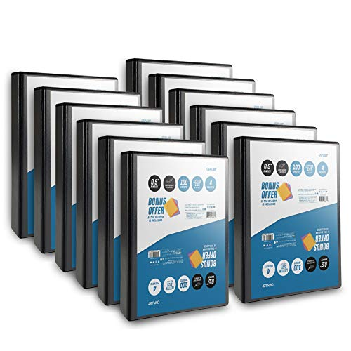 OS Plus 1 Inch O-Ring Simple View Binder, Black, 12-Pack. Bonus 5-Tab Dividers (1 Set) Included