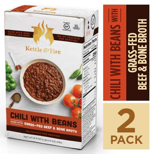 Cheap Chili with Beans and Grass Fed Beef and Bone Broth by Kettle and Fire, Pack of 2, Gluten Free Collagen Soup on the Go, Non GMO, 18g of protein, 16.2 fl oz