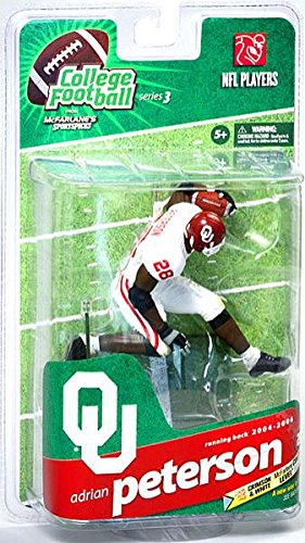 McFarlane Toys NCAA COLLEGE Football Sports Picks Series 3 Action Figure Adrian Peterson (Oklahoma Sooners) White Jersey