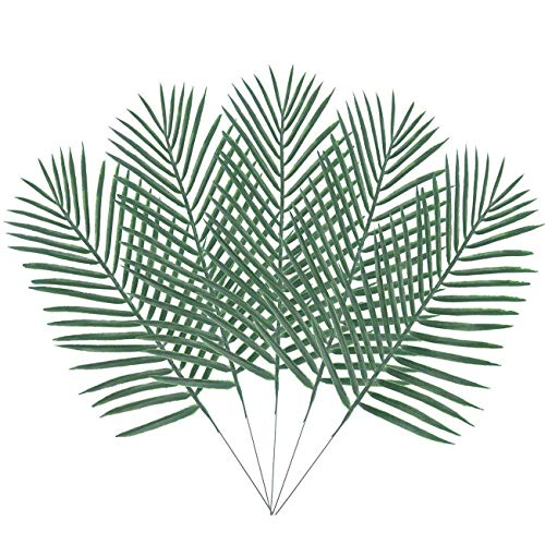 Warmter 10PCS Artificial Palm Tree Faux Plastics Leaves Green Plants Greenery for Flowers Arrangement Wedding Decoration Faux Palm Leaves