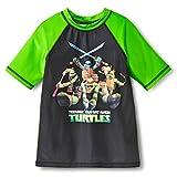 ninja turtles boys bathing suit - Ninja Turtles TMNT Boy's Teenage Mutant Rash Guard Shirt (X-Small, Black)