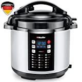 Mueller 10-in-1 Pro Series 19 Program 6Q Pressure Cooker with German ThermaV Tech, Cook 2 Dishes at Once, BONUS Tempered Glass Lid incl, Saute, Steamer, Slow, Rice, Yogurt, Cake, Maker, Sterilizer
