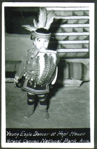 Young Eagle Dancer Hopi House Grand Canyon AZ RPPC 1940s