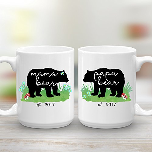 Mama Bear and Papa Bear est. 2017, Mug Set for the New Parents, Baby Shower Gift Set, 2 15 oz Mugs