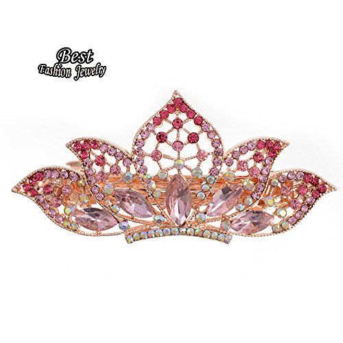 Price comparison product image Bosun(TM) Lady's Full Pink Synthetic Rhinestone Lotus Shape Decoration Hair Clip Girl's Sweety Dating Hair Accessory