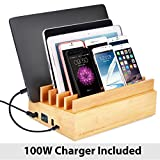 [2 Year Warranty] Avantree 100W 10 Ports Bamboo USB Charging Station Organizer for Multiple Devices, QC3.0, Type C for New MacBook, Tablets, Phones