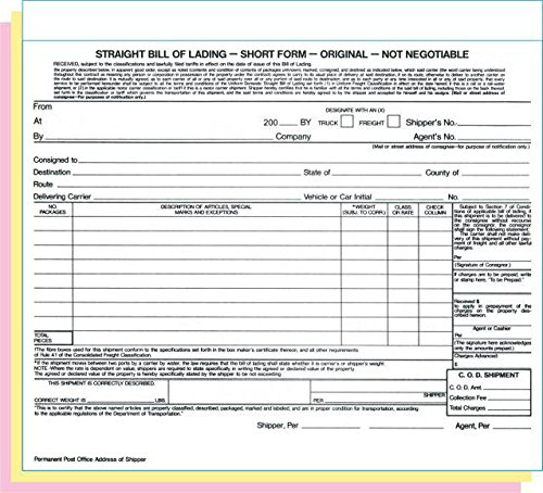 Short Form Straight Bill of Lading, 8-1/2 x 7