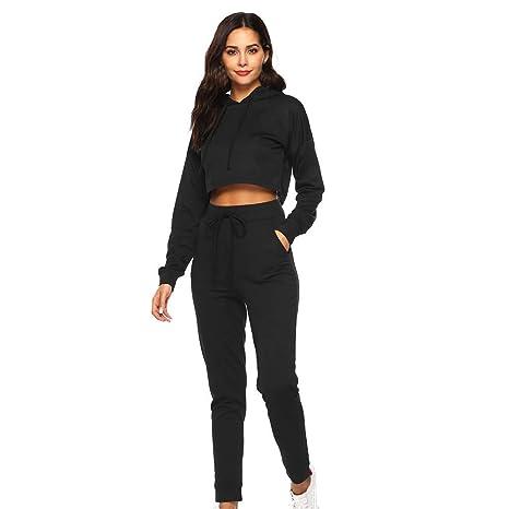 e6beda768dc74e Nacome Promotion Women s Sweatsuits 2 Pieces Long Sleeve Zip Hoodie Crop  Tops Sweatpants Jogging Suit (Black
