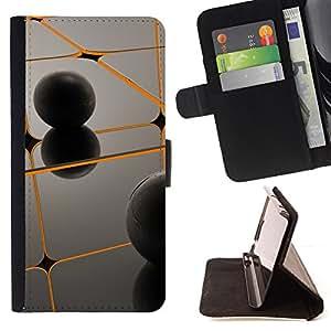 BullDog Case - FOR/Samsung ALPHA G850 / - / Orange & Black /- Monedero de cuero de la PU Llevar cubierta de la caja con el ID Credit Card Slots Flip funda de cuer