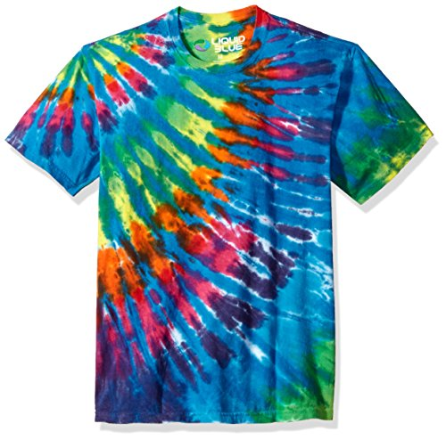 Liquid Blue Unisex-Adult's Rainbow Blue Streak Tie Dye Short Sleeve T-Shirt, Multi Colored, Medium