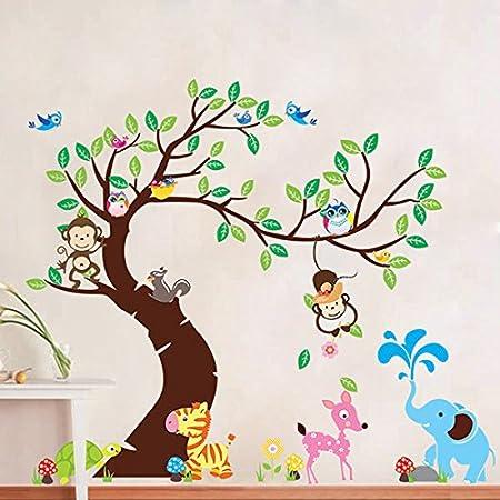Bonigar 189 x 143cm Grande Pegatinas Adhesivos vinilos decorativos pared animales de zoo árbol Removible para sala de estar dormitorio infantil: Amazon.es: ...