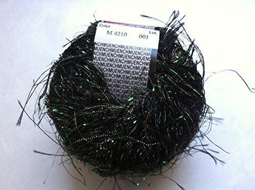 (Muench New Maribu 4210 Black Green Gold Metallic Long Eyelash Yarn 20 Grams )