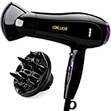 Hair Dryer with Diffuser, Exwell 1875W Lower Noise(75dB) Professional Blow Dryer with 2 Speed and 3 Heat Settings,Fast Drying Hair Dryer for Home/Travel