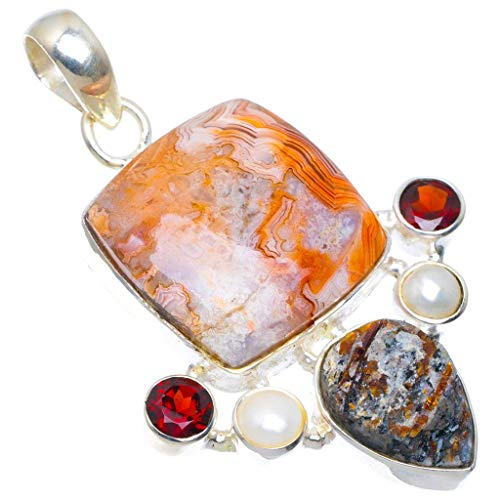Natural Crazy Lace Agate, Drusy Druzy, Pearl and Garnet 925 Sterling Silver Pendant 2