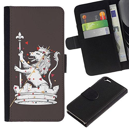 EuroCase - Apple Iphone 6 4.7 - The Majestic Royal Lion - Cuir PU Coverture Shell Armure Coque Coq Cas Etui Housse Case Cover