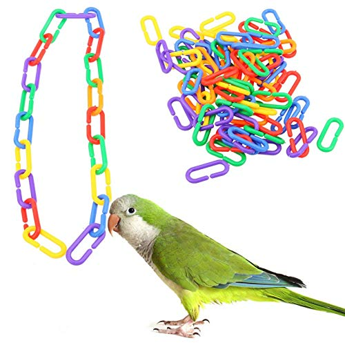(Bird Toys - 100 Piece Plastic Multicolored C Clips Hooks Chain Rings Toys - Bundle Multipack Bulk Easter Electronic Cockatiels Pack Sticks Themed Under Budgie Foraging Parrot Blocks Sale)