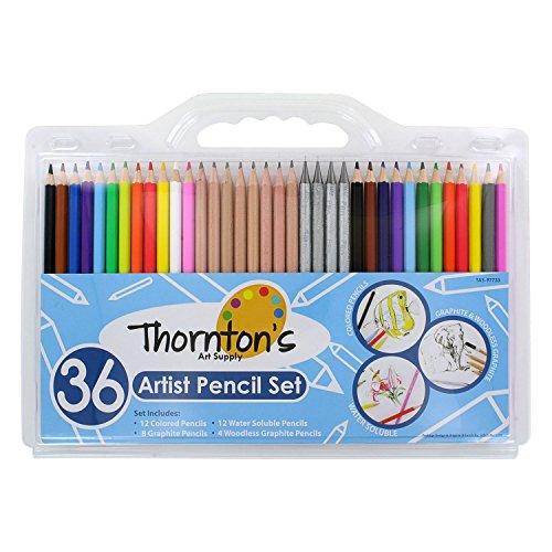 Thornton's Art Supply 36 Count Professional Hi-Quality Artist Colored Pencil Set with 12 Watercolor, 8 Graphite, 12 Colored & 4 Woodless -