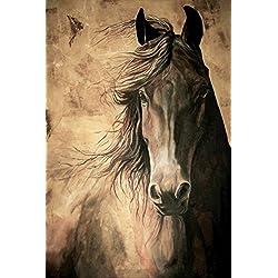 WISDOM - Horse Print 12x18 Inch Friesian Horse Acrylic Painting Equine Fine Art Print Dressage Horse Home Decor