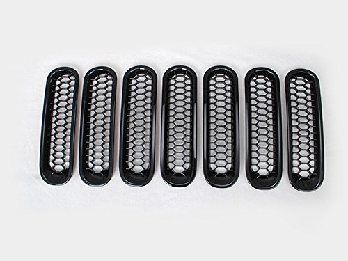 センター グリル 虫の進出防止 ブラック 真ん中穴なし ABS 7枚 カバー リム「ジープラングラー JK(Jeep Wrangler) 2007\u20102015年」に適合 【HIGH FLYING 】 B078T7BPKG ブラック 穴なし ブラック 穴なし