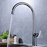 LHbox Tap Sprayer Spout Kitchen Faucet Chrome-Copper-Colored Triangle Safety Handle Kitchen Faucet Single-Console Basin Sink Mixer