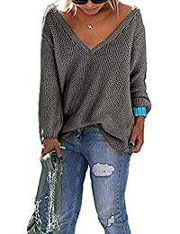 Loose V Neck Sweater Women's Long Sleeve Knitted Pullover Loose Casual Tops Knitwear