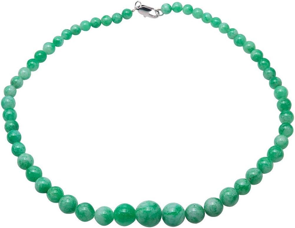 JYX - Collar de jade verde para mujer, 6,5-13,5 mm, redondo, collar de cuentas de jade coreano, 45,7 cm