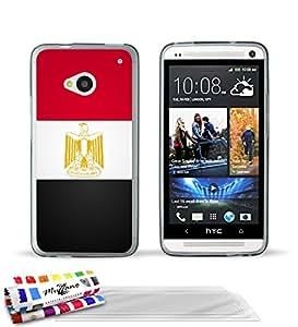 """Carcasa Flexible Ultra-Slim HTC ONE / M7 de exclusivo motivo [Bandera Egipto] [Gris] de MUZZANO  + 3 Pelliculas de Pantalla """"UltraClear"""" + ESTILETE y PAÑO MUZZANO REGALADOS - La Protección Antigolpes ULTIMA, ELEGANTE Y DURADERA para su HTC ONE / M7"""