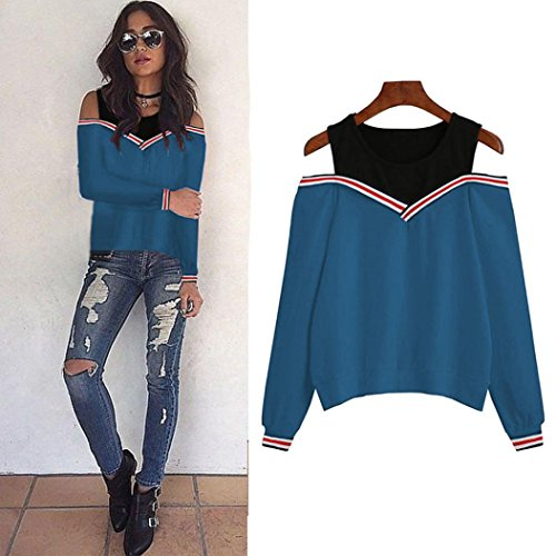 Velour V-neck Shirt - Women Blouse,IEason Women Off Shoulder Long Sleeve Sweatshirt Blouse Tops Pullovers (L, Blue)