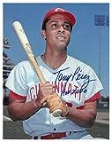 Tony Perez Signed Autograph Cincinnati Reds 11x14 Photo HOF 2000 minor dings bat on shoulder - Certified Authentic