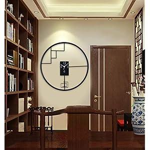 Wall clock Reloj de Pared de Hierro Forjado de Estilo Chino Reloj de Pared de 18 Pulgadas (45 * 45 cm) Dormitorio Reloj de Pared Movimiento metálico Movimiento de Barrido 1 batería AA (sin impuestos) 3
