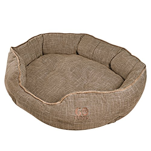 Bed Dog Luxury Donut (GOBUDDY Round Pet Bed For Cats & Dogs - Ultra Soft & Comfortable Cuddler Pet Bed - Reversible Removable Linen Cushion Prevents Overheating - Improves Sleep For Small, Medium & Large Animals)
