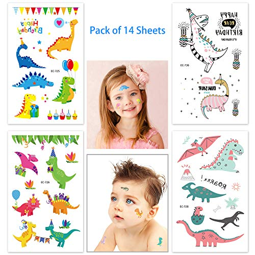 Temporary Tattoo for Kids, Tattoo Dinosaur, Fun Dino Tattoos for Kids Toddlers Boys Girls, Cool Birthday Party Favor Fake Tattoo for Children, Press On and Removable (70 Tattoos, Pack of 14 Sheets) -