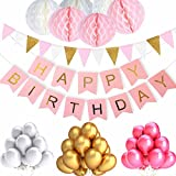 ZhengYue Birthday Decorations for Girls, Happy Birthday Bunting Banner with 6PCS Honeycomb Balls, 8.5 Feet Triangle Flags Banner, 30pcs Pearl Balloons - Pink Birthday Banners