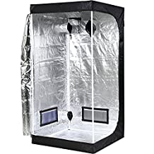 """iPower GLTENTS1 Mylar Hydroponic Grow Tent for Indoor Seedling Plant Growing with Metal Push-Lock Corners, 39x39x78"""", Water-Resistant. Removable Mylar Floor Tray Included"""