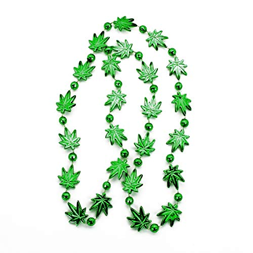 Green Cannabis Pot Leaf Marijuana Plastic Necklace Beads ()
