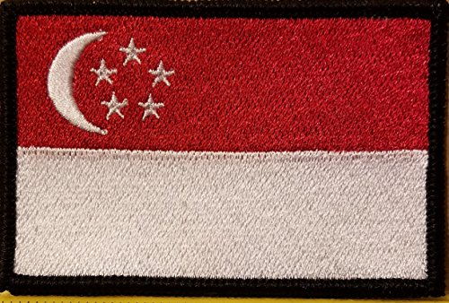 SINGAPORE Flag Embroidered Patch With VELCRO Brand Fastener Military Morale Emblem Black Border 3 1/2 X 2 1/4 - Singapore Brands