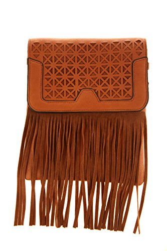 Bag Brown Agency Crossbody Perforated Avenue with Fringe Pxzxw