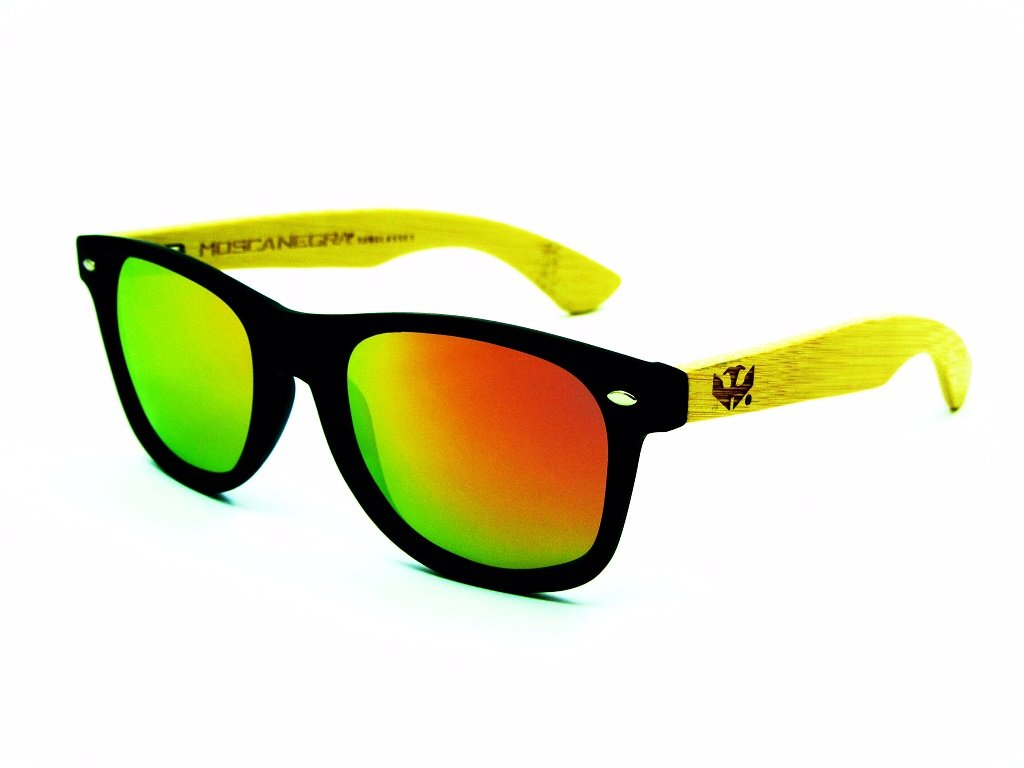 Lunettes en bois MOSCA NEGRA, modèle MIX SOLID BLACK wood sunglasses