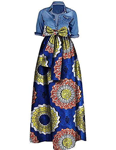 9c211617f2a Niufaashion Womens African Print Dashiki Skirt High Waist Ball Gown Long  Maxi A Line Dresses
