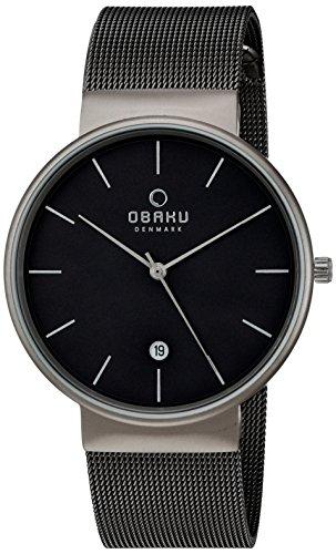 Obaku Men's Quartz Titanium and Stainless Steel Dress Watch, Color:Grey (Model: V153GDTJMJ)