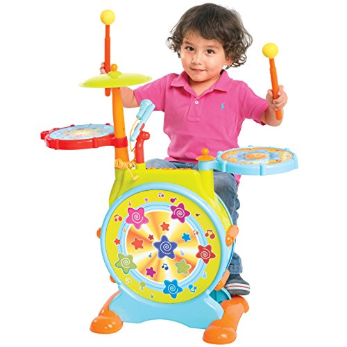 Kids Drum Set (Adjustable and sing-along microphone included)