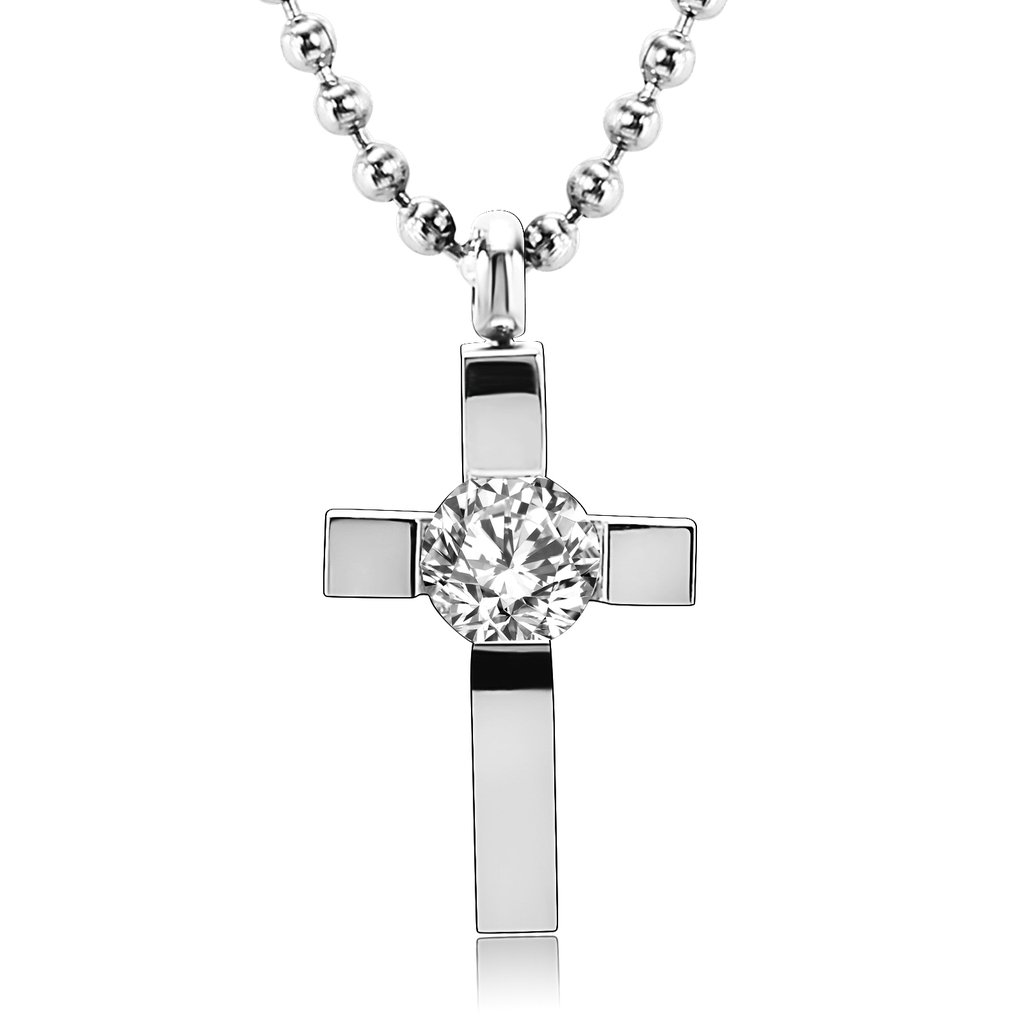 MoAndy Stainless Steel Men,Womens Cubic Zirconia Cross Pendant Necklace