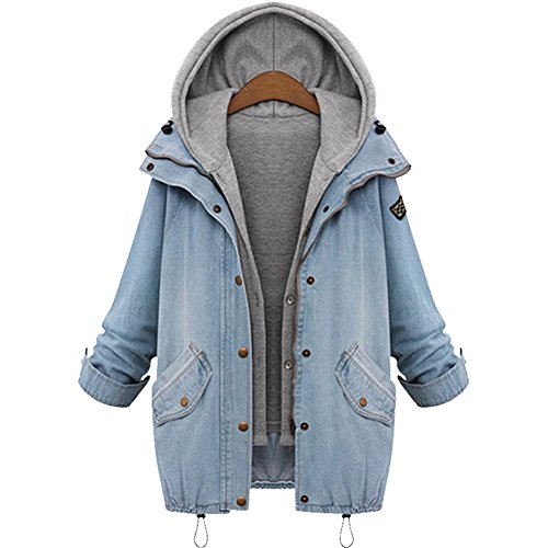 LOSORN ZPY Damen Mode Jacke Wintermantel mit Kapuze Jeans Trenchcoat Outwear Mantel Jacket (L, Blau)