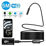 Wireless Endoscope For iPhone Android, LEADNOVO WIFI Borescope Inspection Camera IP67 Waterproof 720P HD Semi-rigid Snake for MAC PC Tablet PCB Detection Sewer Pipeline Vehicle Motor 16.4 ft(5 Meter)