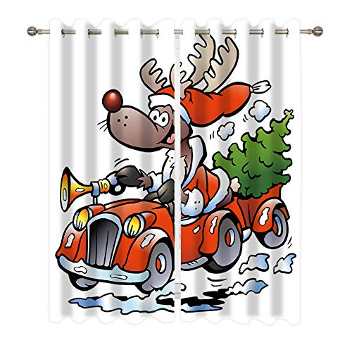 DUISE Grommet Blackout Curtains, The Christmas elk is Driving a car Carrying The Christmas Tree, for Living Room Bedroom Polyester Light Blocking Curtains, 2 Panels Set, 55W X 45L Inches