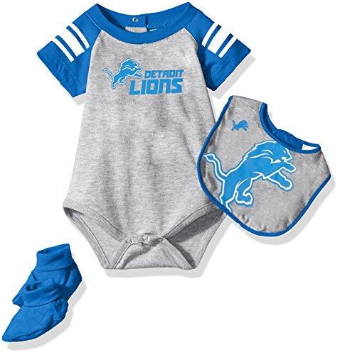 Outerstuff NFL Infant Blitz Onesie, Bib and Bootie Set-Heather Grey-12 Months, Detroit -